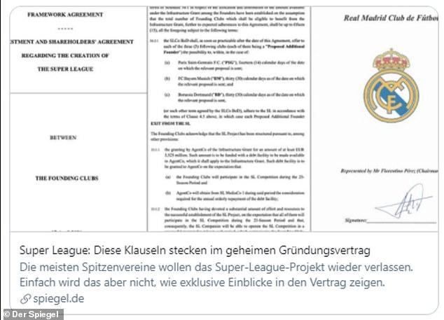 El medio alemán Der Spiegel ha publicado algunas páginas de los contratos de la Superliga europea