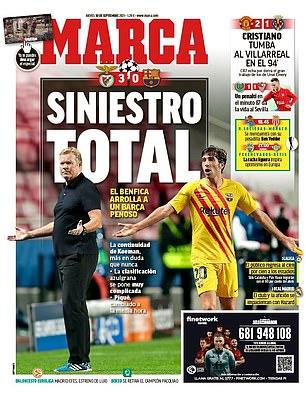 Marca calificó la derrota del Barcelona ante el Benfica de un 'desastre total'