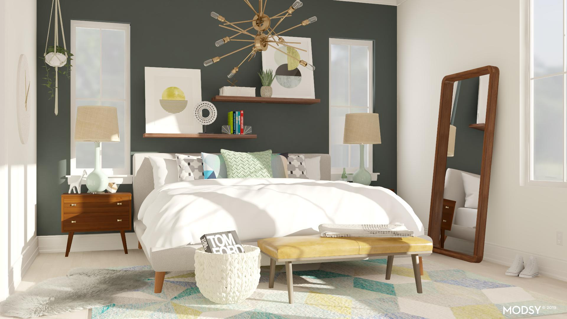 Green Accent Walls For A Mid Century Bedroom Mid Century Modern Style Bedroom Design Ideas