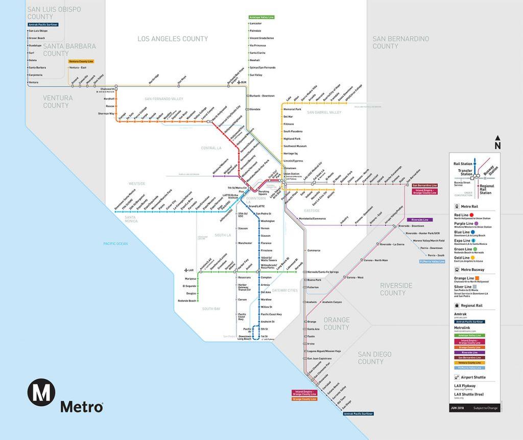 Metro and Metrolink Map of Los Angeles