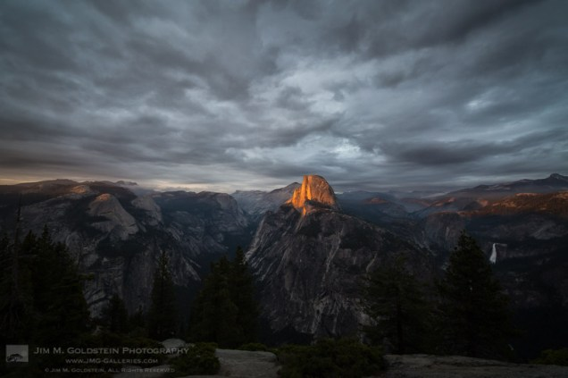 Last light shines on Half Dome as seen from Glacier Point, Yosemite National Park