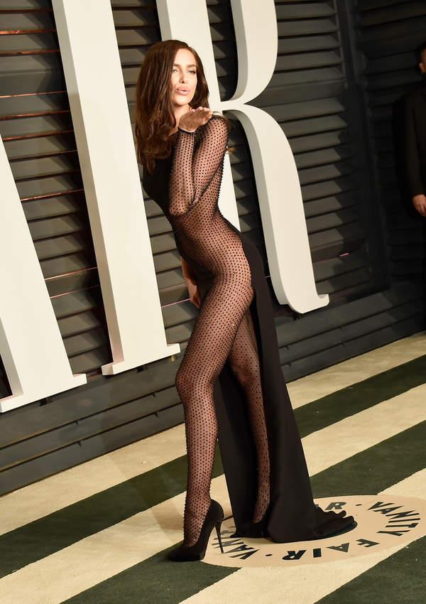 Irina Sheik 2021 in a see-through dress