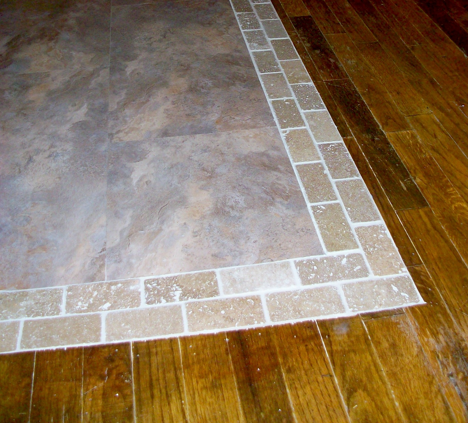 transition between tile and wood floors