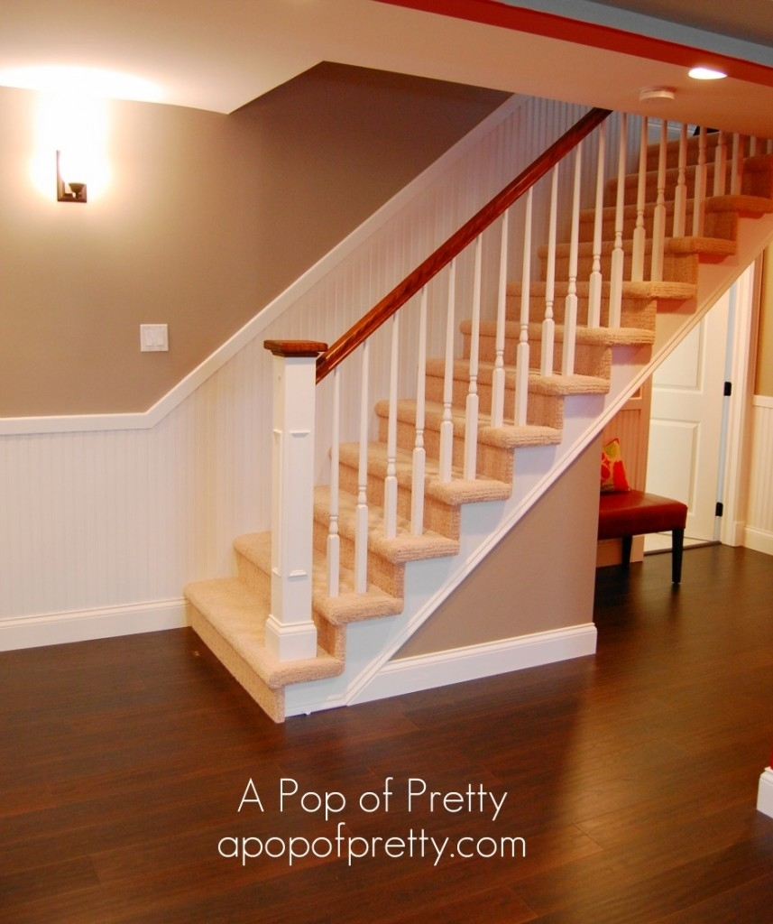 Basement Stair Railing Ideas • Basement | Floor Opening For Basement Stairs | L Shaped | Foyer | Both Side | Interior | 8 Foot Ceiling