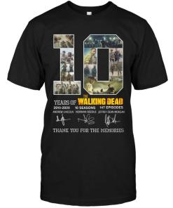 10 Years Of The Walking Dead Thank You For The Memories Signed Shirt