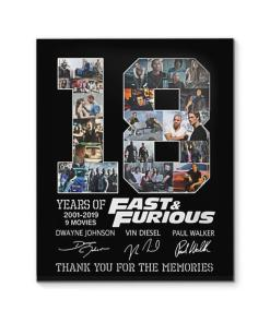 18 Year Of Fast & Furious Thank You For The Memories Canvas