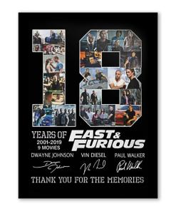 18 Year Of Fast & Furious Thank You For The Memories Poster