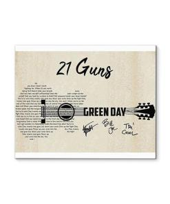 21 Guns Green Day Lyric Guitar Typography Signed Canvas