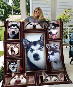 3d Siberian Husky Quilt Blanket