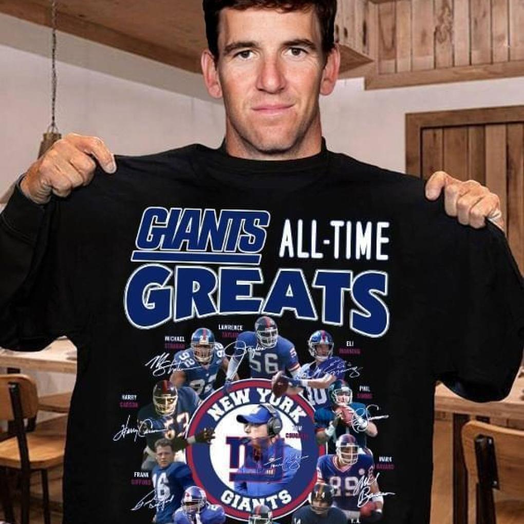 New York Giants All Time Greats Coach Players Signatures T Shirt