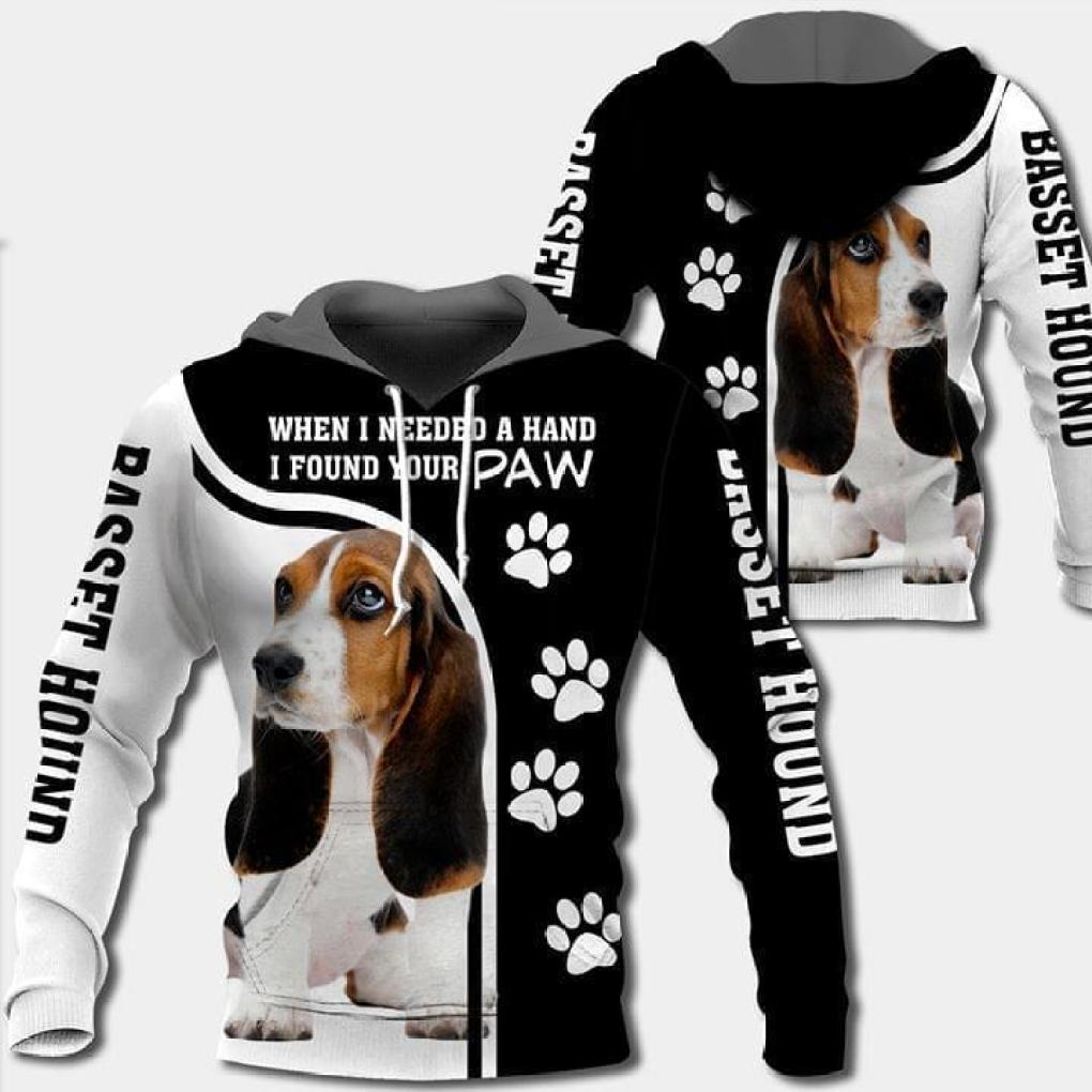 When I Needed A Hand I Found Your Paw Basset Hound Dog Lover 3d Printed Hoodie 3d