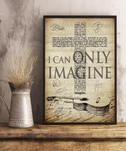 Mercyme I Can Only Imagine Lyric Jesus Cross Typography Guitar Art Signed Poster Canvas