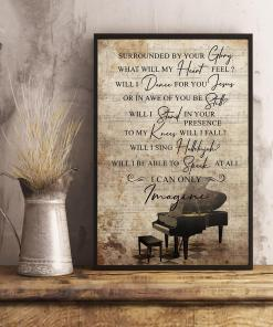 Mercyme I Can Only Imagine Lyric Typography Piano Art Poster Canvas
