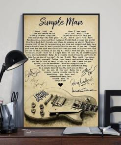 Lynyrd Skynyrd Simple Man Lyric Heart Typography With Guitar Art Signed Poster Canvas