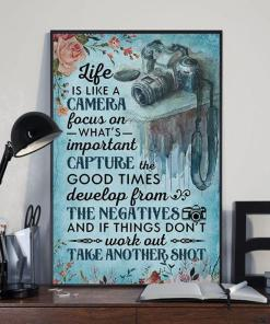 Life Is Like Camera Focus On Important Capture Good Times Develop From Negatives If Dont Work Out Take Another Shot Poster Canvas