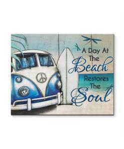 A Day At The Beach Restores The Soul Hippie Car Canvas