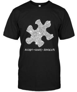 Accept Adapt Advocate Glitter Piece Puzzle Autism Shirt