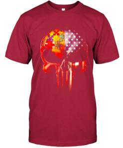 Autism America Flag Skull T Shirt