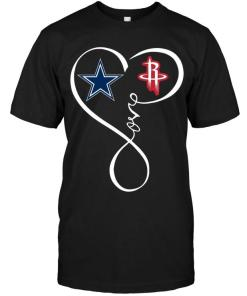 Dallas Cowboys Houston Rockets Love Heart Shirt