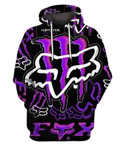 Fox Monster Energy Purple 3d Full Print Hoodie