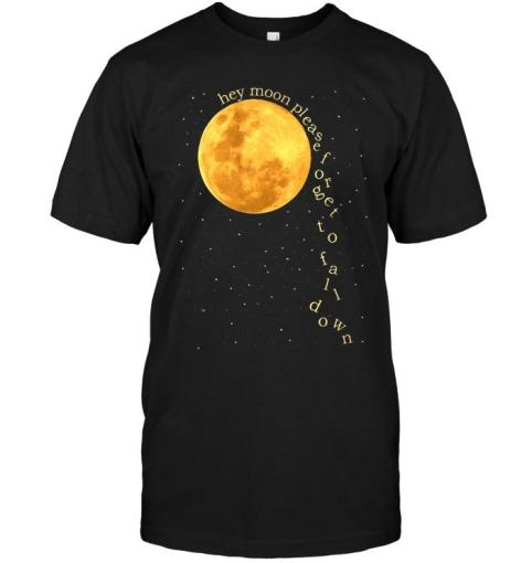 Hey Moon Please Forget To Fall Down Black T Shirt