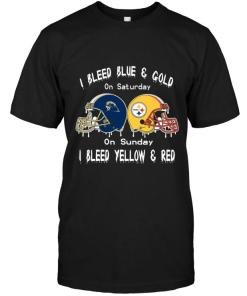 I Bleed Pittsburgh Panthers Blue & Gold On Saturday Sunday I Bleed Pittsburgh Steelers Yellow & Red Shirt