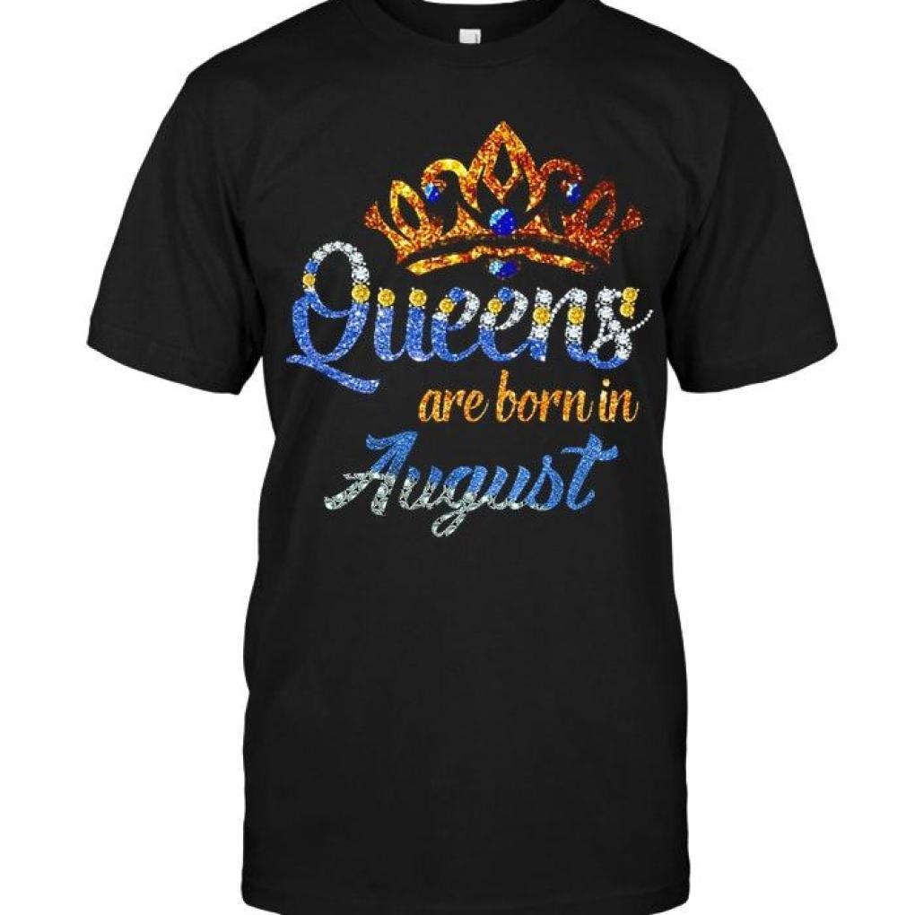 Queen Are Born In August Crown Diamond Glitter Black T Shirt