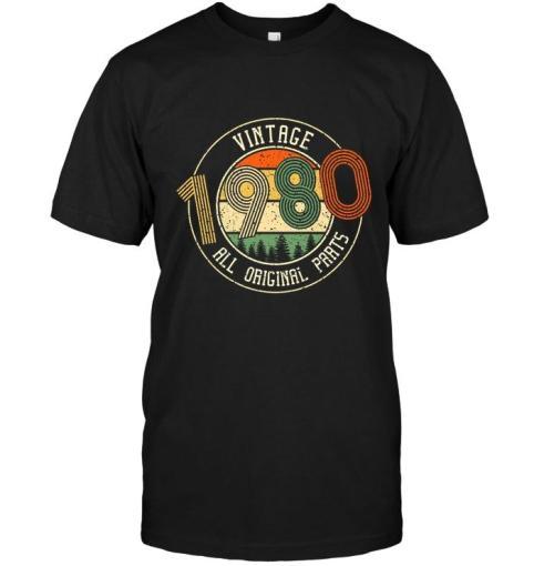 Vintage 1980 All Original Parts Retro Black T Shirt