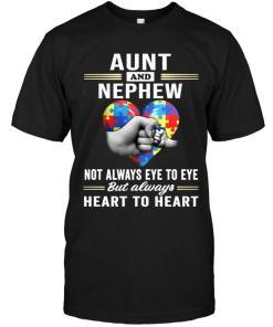 Autism Aunt & Nephew Not Always Eye To Eye But Always Heart To Heart Black T Shirt
