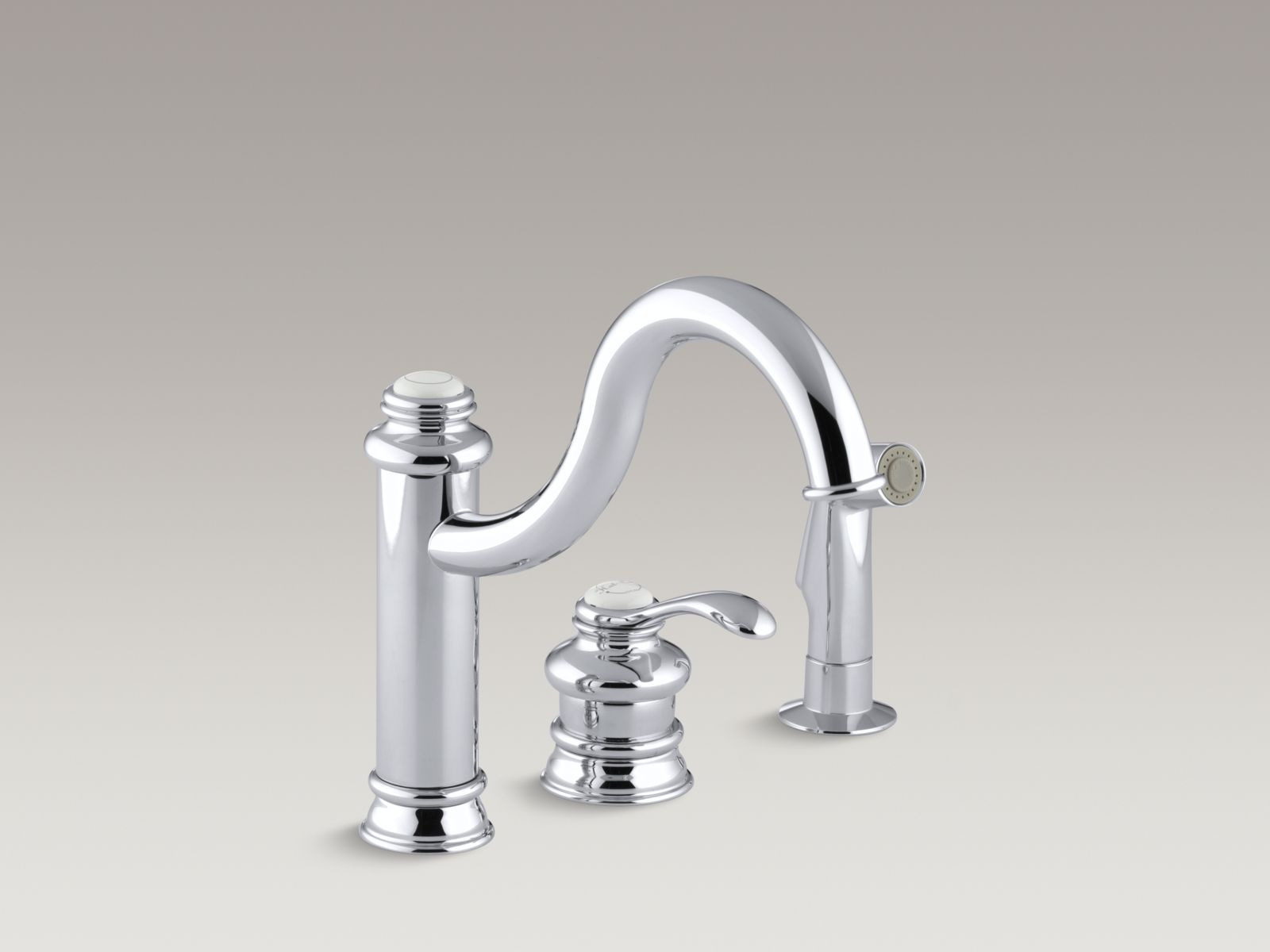Many times a day the water is turned on and off, leading to quite a bit of wear and tear on this hardworking fixture. Kohler Purist Single Hole Kitchen Faucet