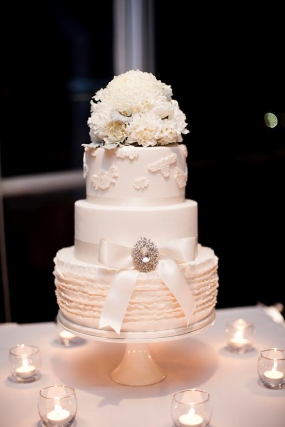The White Threetiered Wedding Cake  Weddbook