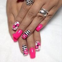 Wedding Nail Designs - Black, White, Pink Nail Design ...