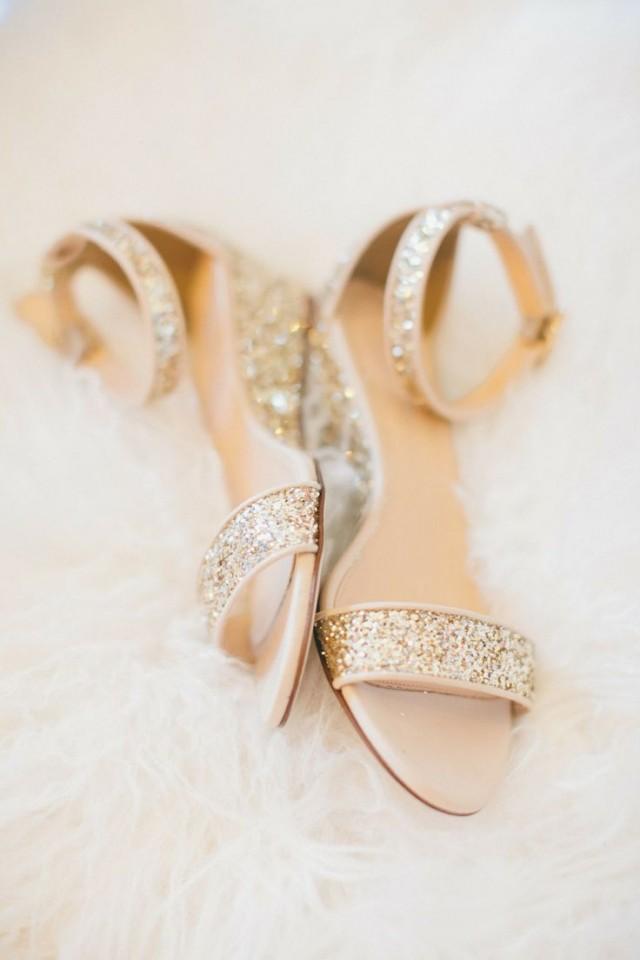 Wedding Nail Designs  Sparkly Gold Bridal Flats 2030658  Weddbook