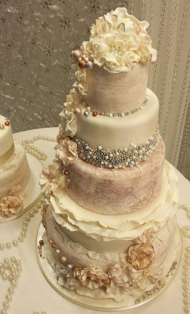 Vintage Wedding  Ruffle An Pearl Vintage Wedding Cakes 2048617  Weddbook