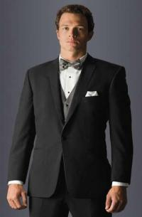 Groomsmen Gifts - Black Suit With Grey Bow Tie And Vest ...