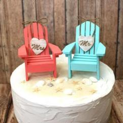 Aqua Adirondack Chairs Plastic Chair With Cup Holder Beach-wedding Cake Topper-adirondack Chairs-aqua-blue-coral-destination Wedding-his And Hers ...