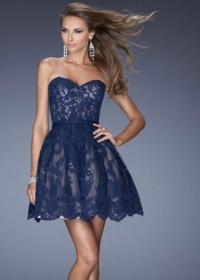 2014 Navy Blue Sweetheart Lace Cover Short Prom Dress ...