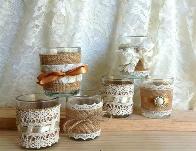 Fall Out Boy Flower Wallpaper Burlap And Lace Covered Votive Tea Candles Country Chic