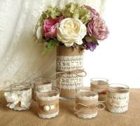 Burlap And Lace Covered Votive Tea Candles And Vase
