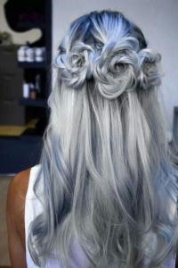 Braided Hair Model - White Hair Color, Braided Roses ...
