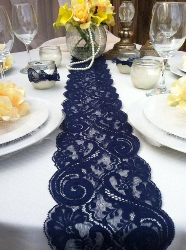 NAVY BLUE LaceTable RunnerWeddings Decor2 Yards 6ft 8wide X78 Inches Long Navy Weddings