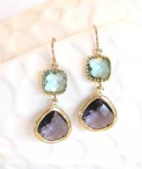 Aqua Purple Earrings Amethyst Earrings Gold Earrings Aqua ...