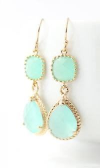 Mint Green Earings - Mint Bridesmaid Earings - Mint ...