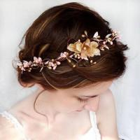 Pink And Gold Bridal Circlet, Wedding Flower Headpiece ...