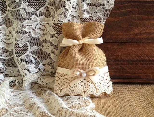 Rustic 10 Lace Covered Natural Color Burlap Favor Bags