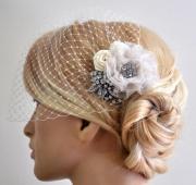 birdcage veil bandeau style set