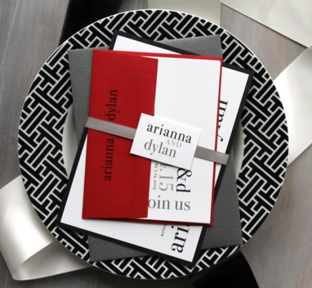 Wedding Invitations Red Black And White – Black Red and White Wedding Invitations