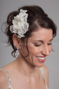 Lace And Silk Flower Bridal Head Piece, Wedding Lace Hair