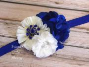royal blue ivory headband flower