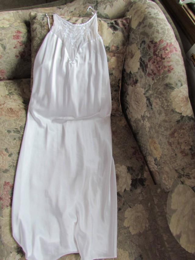 Val Mode Vintage Satin Nightgown Lingerie White Long Floor